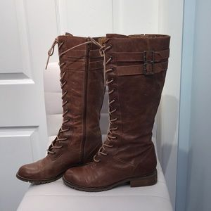 Sofft Cognac Leather Lace Up Boots